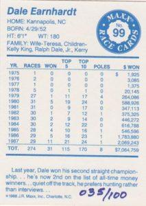 1988 Dale Earnhardt Signed Version Back