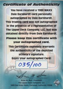 1997 Certificate of Authenticity Back
