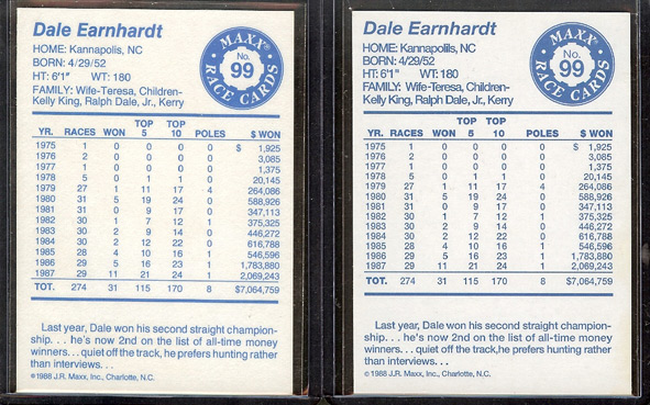 1988 Maxx Dale Earnhardt Backs