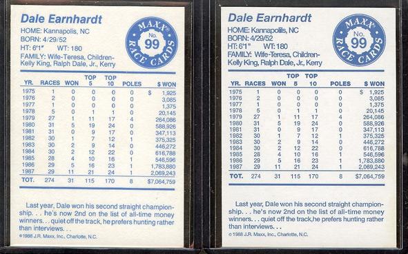 1988 Maxx Dale Earnhardt Backs