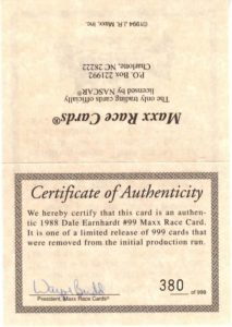 1988 Certificate of Authenticity Front